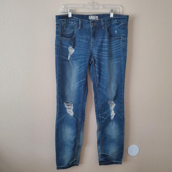 Free People Denim - Free People Distressed Blue Straight Jeans